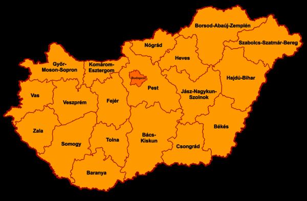 Magyarország jógaoktatói megyei bontásban